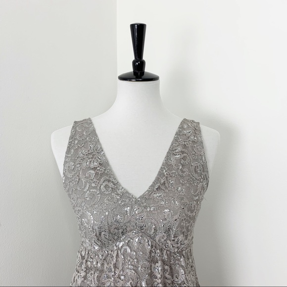 The Limited Metallic Silver Grey Lace Tank Dress